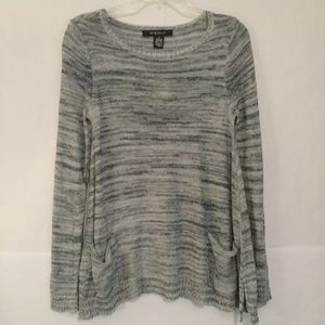 89th & Madison Navy & White Sweater pockets NWT